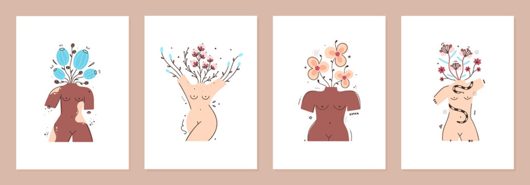 Set of cover templates with flowers in vase in form of naked female bodies. Body positive. All women are beautiful. Designs is for notebook, planner, diary, poster, card. Size A4. Vector illustration