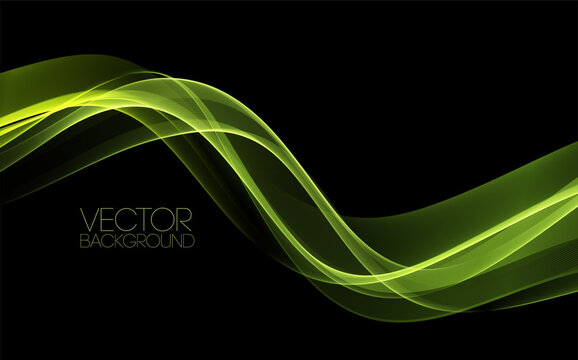 Vector Abstract shiny color green wave design element on dark background. Science design