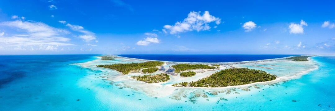 Aerial view of the Tikehau Atoll in French Polynesia