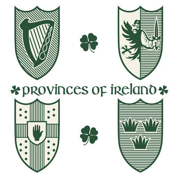 Irish Celtic design in vintage, retro style. Irish design with coat of arms of the provinces Connacht, Leinster, Munster and Ulster