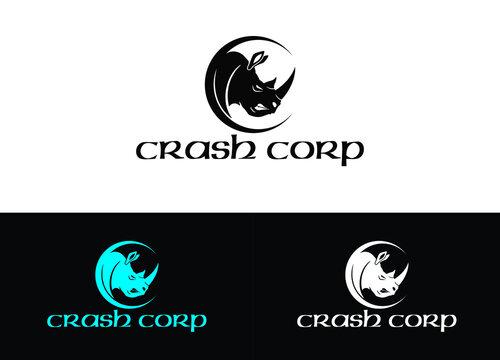Crash Corp Logo or Icon Design Vector Image Template