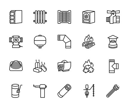 Heating heat supply equipment. A set of vector icons in a simple style, isolated on a white background