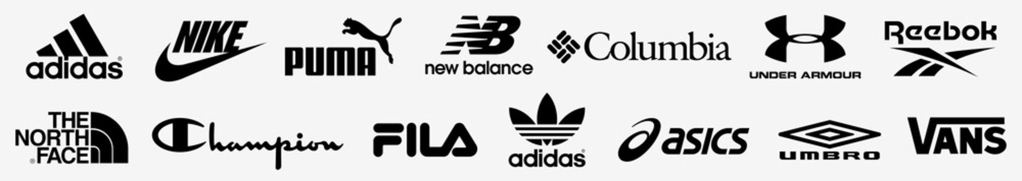 Adidas, Nike, The North Face, Reebok, Puma, Under Armour, Columbia , Asics, New balance, Champion, Fila logo. Sportswear logos set vector. Editorial
