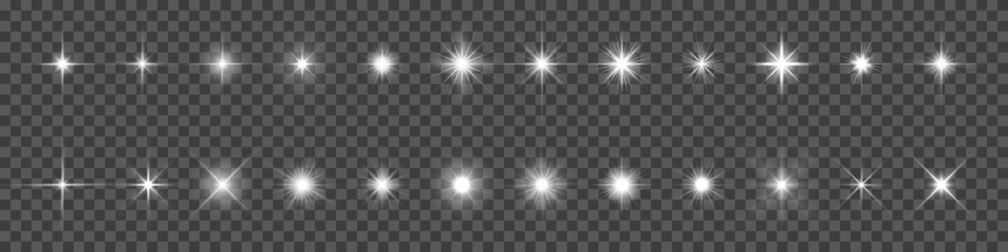 Sparkling star, vector glowing star light effect. Glitter magic star sparks on transparent background.