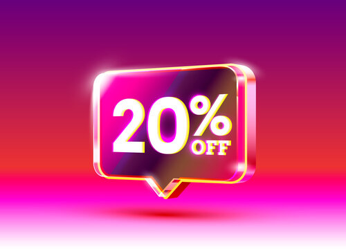 Discount special offer, 20 off sale flyer. Vector