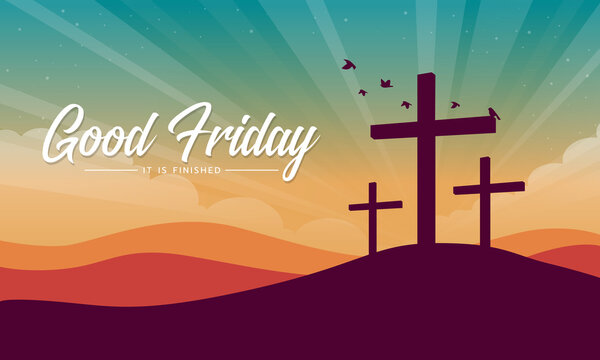 good friday, it is finished text banner with Cross crucifix on hill and bird flying at sunset for good friday vector design