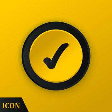 Check mark icon on yellow button