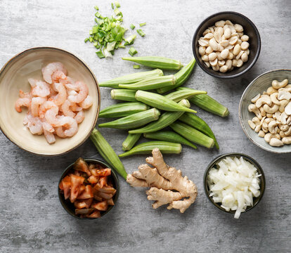Caruru Ingredientes, traditional Afro-Brazilian dish made with okra and dried shrimp, tomatoes., cashews and peanuts