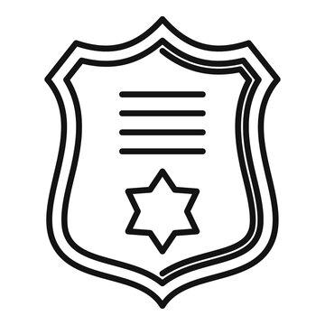 Prosecutor gold emblem icon. Outline prosecutor gold emblem vector icon for web design isolated on white background