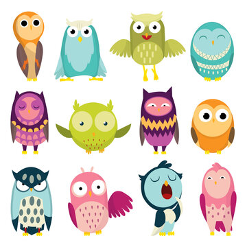 illustration of colorful cartoon funny owls set on white background. Happy and joyful birds set in flat style. Isolated children cartoon illustration, for print or stickers