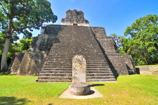View of the ruins of Mayan ancient city of Tikal in Guatemala