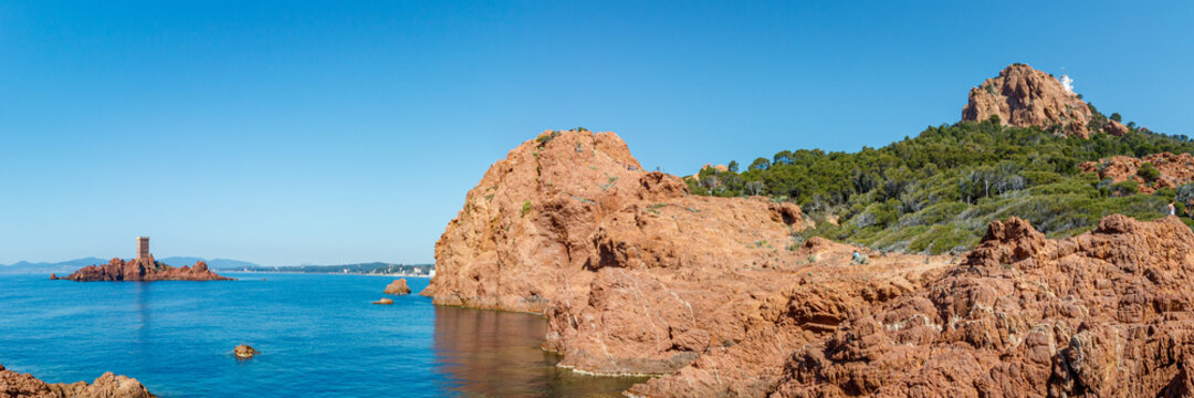 stoner tower on a rocky island in the Mediterranean sea on the French Riviera