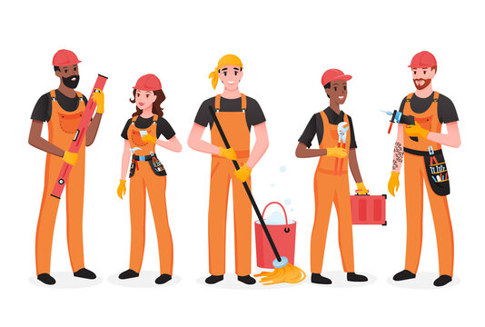 Repairman team of people set, happy workers of maintenance repair service standing