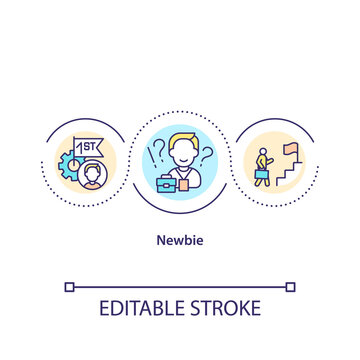 Newbie concept icon. Career advancement. Job opportunity. Corporate work. Employee adaptation. New worker idea thin line illustration. Vector isolated outline RGB color drawing. Editable stroke