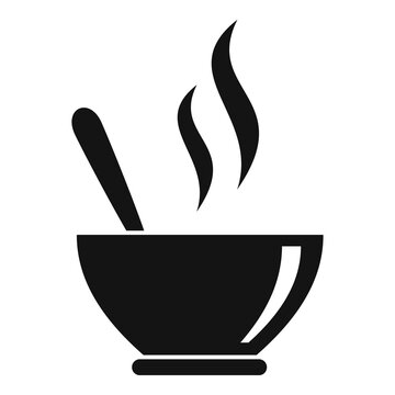 Hot soup bowl icon. Simple illustration of hot soup bowl vector icon for web design isolated on white background