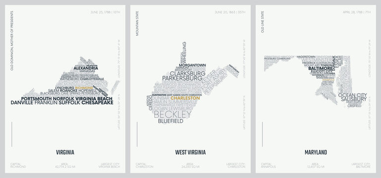 Typography composition of city names, silhouettes maps of the states of America, vector detailed posters, Division South Atlantic - Virginia, West Virginia, Maryland - set 8 of 17