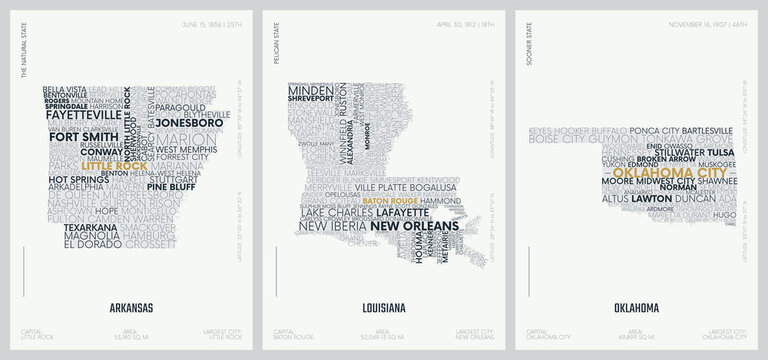 Typography composition of city names, silhouettes maps of the states of America, vector detailed posters, Division West South Central - Arkansas, Louisiana, Oklahoma - set 12 of 17