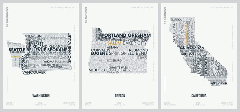 Typography composition of city names, silhouettes maps of the states of America, vector detailed posters, Division Pacific - Washington, Oregon, California - set 16 of 17