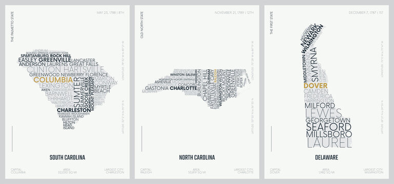 Typography composition of city names, silhouettes maps of the states of America, vector detailed posters, Division South Atlantic - South Carolina, North Carolina, Delaware - set 9 of 17
