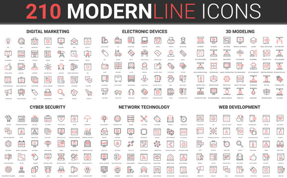 210 modern red black thin line icons set of cyber security, network technology, web development, digital marketing, electronic devices, 3d modeling collection vector illustration.
