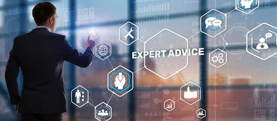 Fototapeta Businessman touching finger on the virtual screen and selecting Expert advice obraz