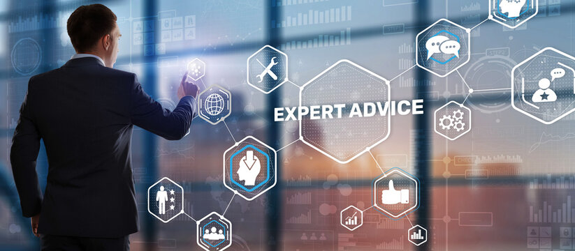 Businessman touching finger on the virtual screen and selecting Expert advice
