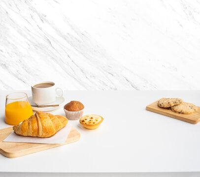 Set of breakfast food or bakery,cake on white table kitchen marble wall background.