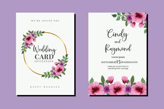 Wedding invitation frame set, floral watercolor hand drawn Hollyhock Flower design Invitation Card Template