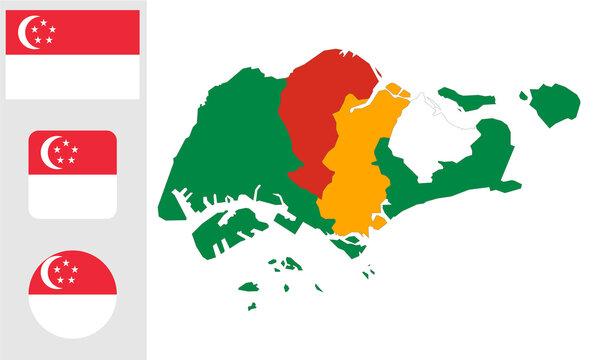 Singapore map. and flag. flat icon symbol vector illustration