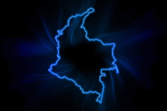 Glowing Map of Colombia, modern blue outline map