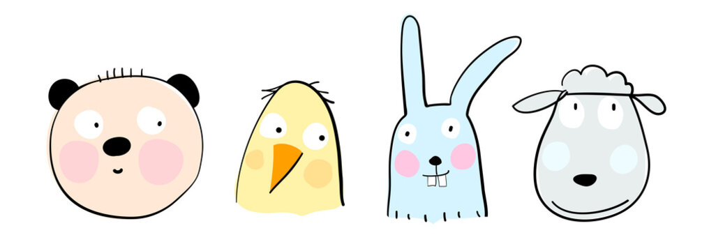 Animal heads of bear sheep rabbit and duck set. Hand drawn simple doodle style cartoon for kids. Vector illustration of beautiful mammals.