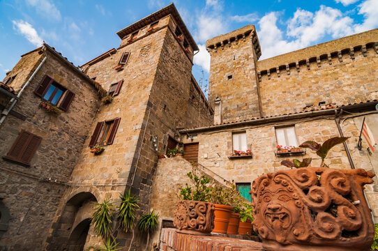 Medieval architecture in the small village of Bolsena, Italy