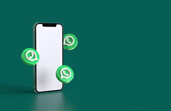 Smartphone mockup with whatsapp icons in realistic 3D rendering. Blank screen template