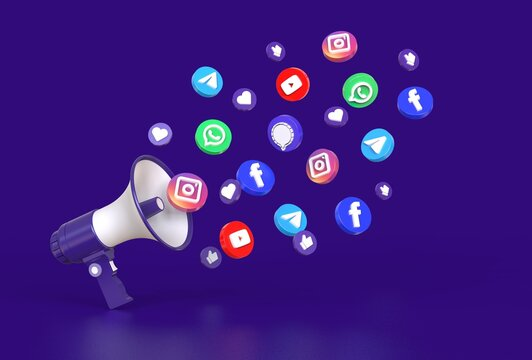 Megaphone with round button social media icons. Social media marketing concept