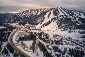 Fototapeta Aerial View of popular Ski Town of Winter Park, Colorado obraz