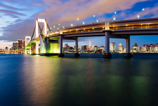 Tokyo Bay and the  Rainbow Bridge, the Tokyo tower is visible at the distance.