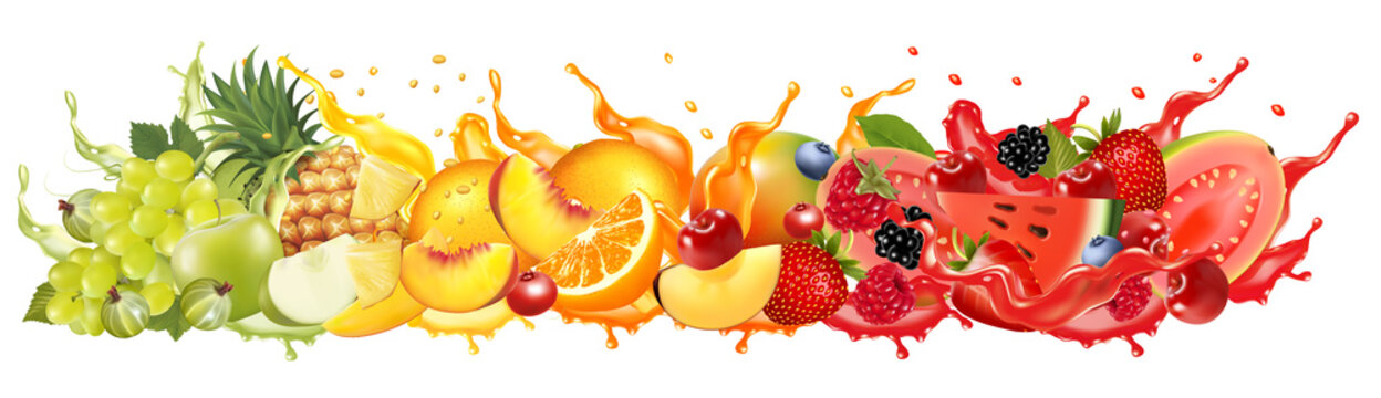Fruit in juice splash panorama. Strawberry, raspberry, blueberry, blackberry, orange, guava, watermelon, pineapple, mango, peach. Vector.