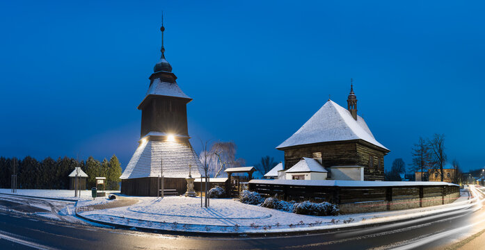 Veliny - Wooden church of Saint Nicholas existed already in 14th century, its current baroque style is from year 1752. Veliny is a village in the Pardubice Region of the Czech Republic. Winter time