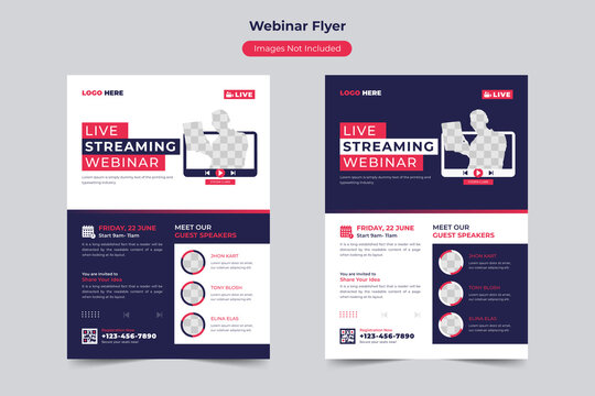 Live Virtual Streaming Conference Event Online Class Webinar Flyer Template Layout Design