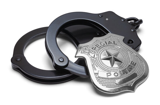 Black Handcuffs with Police Badge Cut Out