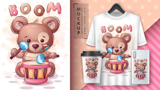Boom bear - poster and merchandising.