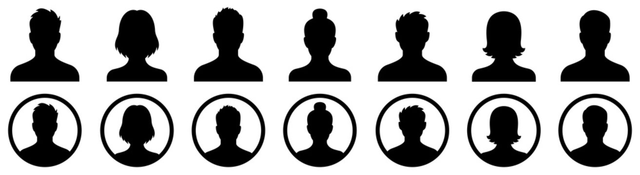 Profile icon. Avatar icons set. Male and female head silhouettes. Vector