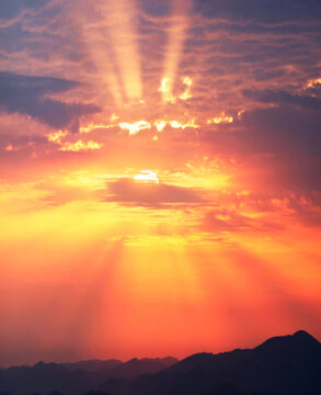 dawn rays of sunrise
