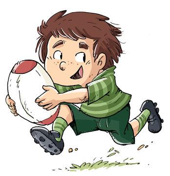 Rugby player boy running