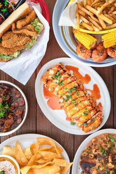 Tabletop Full of Cajun Food