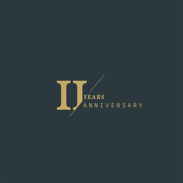 11 years anniversary logotype with modern minimalism style. Vector Template Design Illustration.