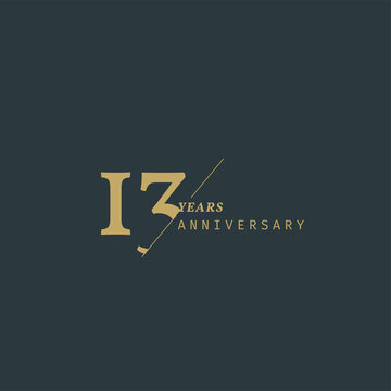 13 years anniversary logotype with modern minimalism style. Vector Template Design Illustration.