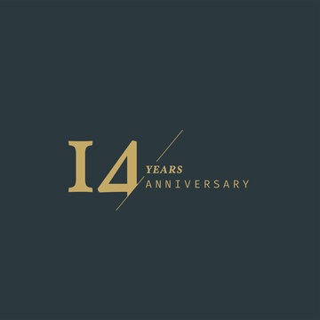 14 years anniversary logotype with modern minimalism style. Vector Template Design Illustration.