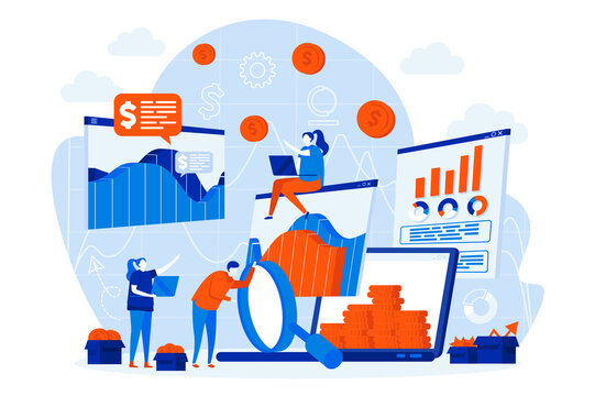 Business statistic web design with people characters. Analytic team analyzing data scene. Financial research composition in flat style. Vector illustration for social media promotional materials.