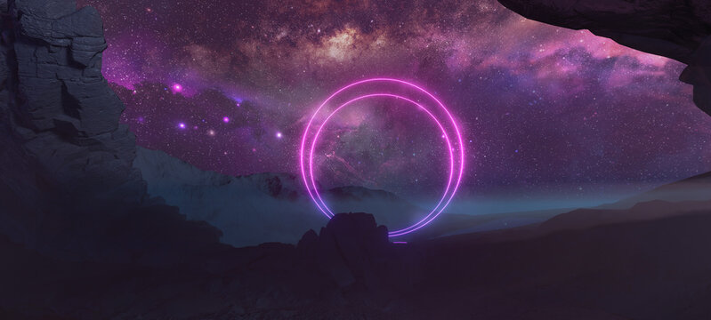 An alien rocky planet with glowing pinky rings portal and Milky Way galaxy stars on background